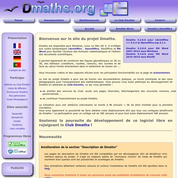 Dmaths : macros pour faciliter l'édition de formules mathématiques sous Libreoffice ou OpenOffice.org.