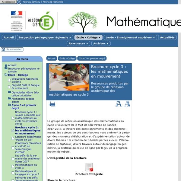Brochure cycle 3 : les mathématiques en mouvement