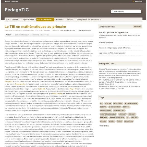 Le TBI en mathématiques au primaire