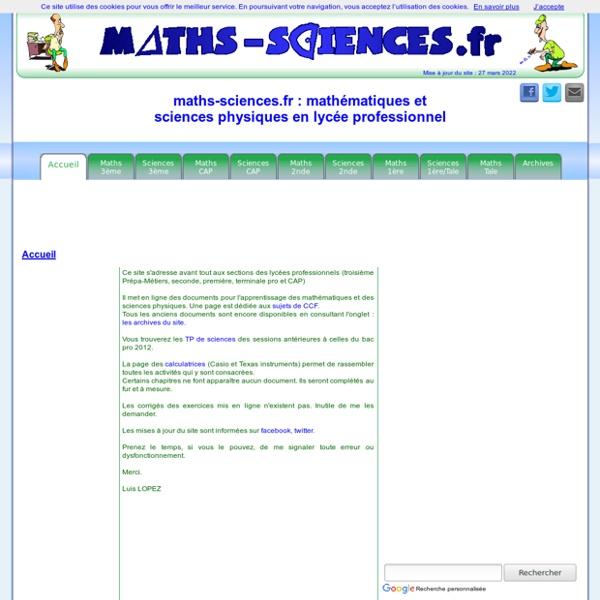 Maths-sciences.fr : mathématiques et sciences physiques en LP