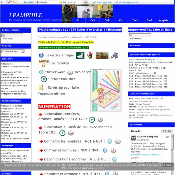 Mathématiques ce1 : 194 fiches d'exercices à télécharger, imprimer, modifier, faire en ligne