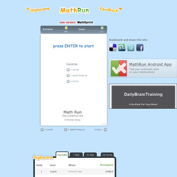 Math Run - how fast is your brain? A simple Brain Training Game for everyone