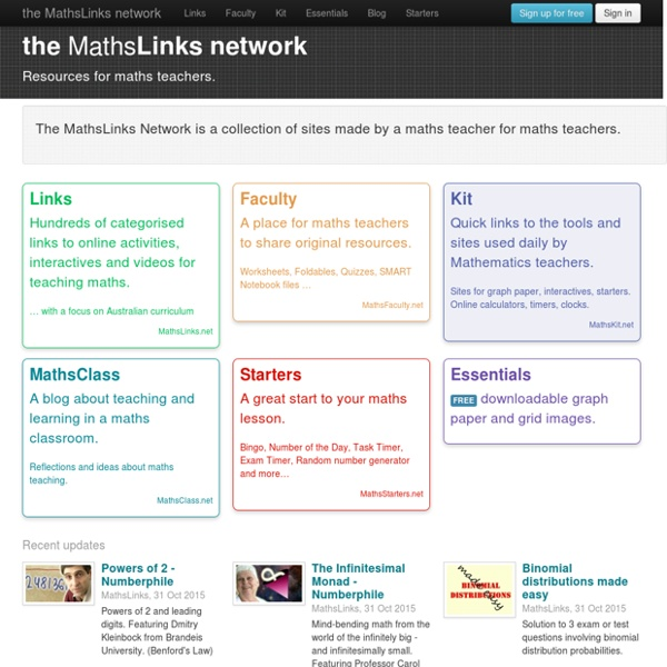 MathsLinks Network - Resources for maths teachers.