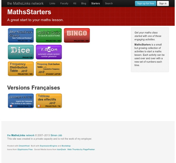 MathsStarters - A great start to your maths lesson.