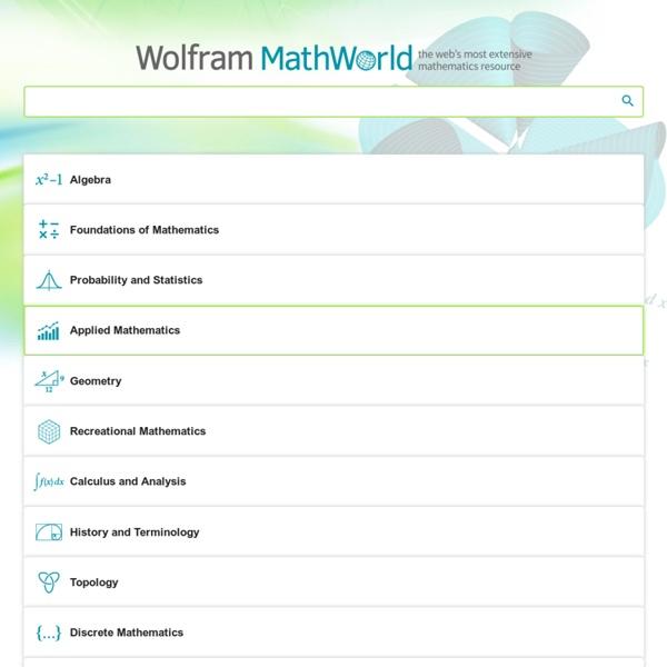 Wolfram MathWorld: The Web's Most Extensive Mathematics Resource