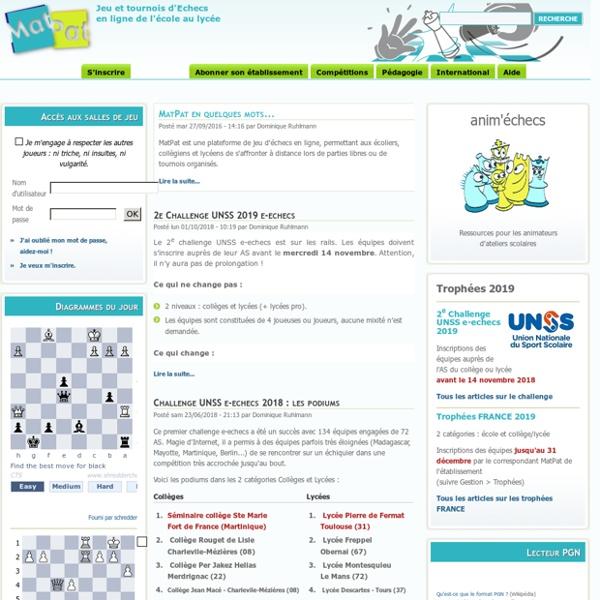 Jeu et tournois d'Echecs en ligne de l'école au lycée