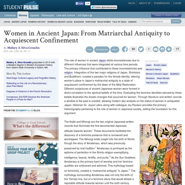 Women in Ancient Japan: From Matriarchal Antiquity to Acquiescent Confinement