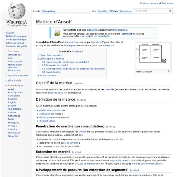 Matrice d'Ansoff