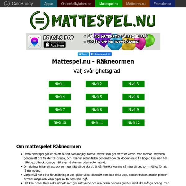 MATTESPEL.NU - Matematikspel online för alla åldrar