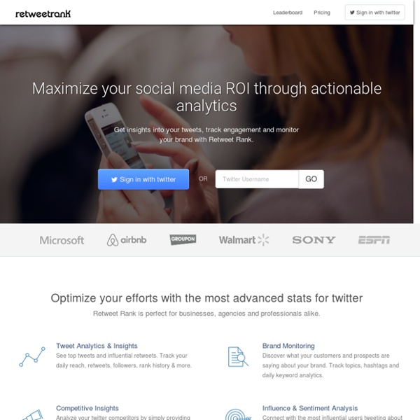 Retweet Rank - Maximize your social media ROI through actionable analytics