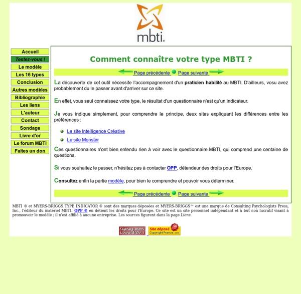 MBTI - Testez-vous !