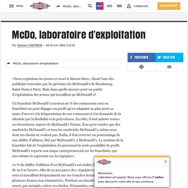 McDo, laboratoire d'exploitation