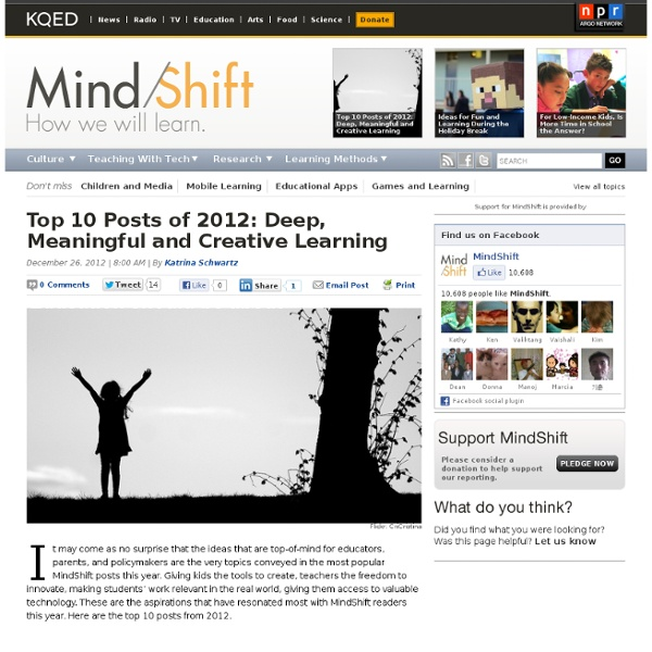 Top 10 Posts of 2012: Deep, Meaningful and Creative Learning