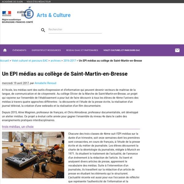 Un EPI médias au collège de Saint-Martin-en-Bresse - Arts & Culture