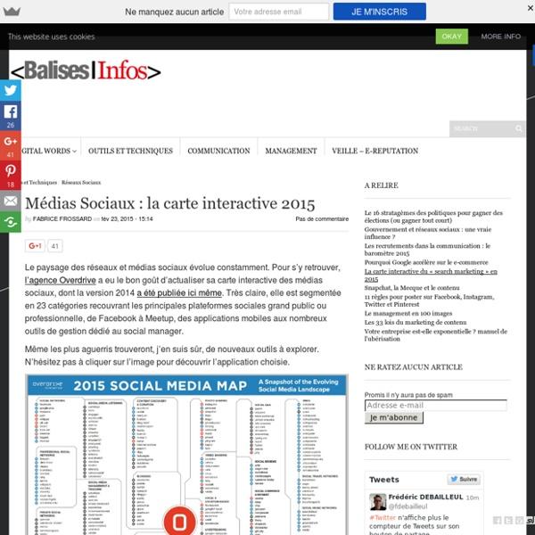Médias Sociaux : la carte interactive 2015 - Balises Infos