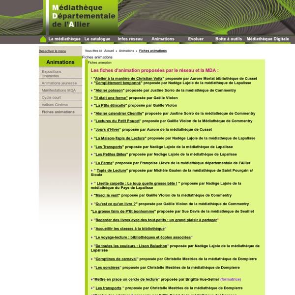 Fiches animations - Médiathèque départementale de l'Allier