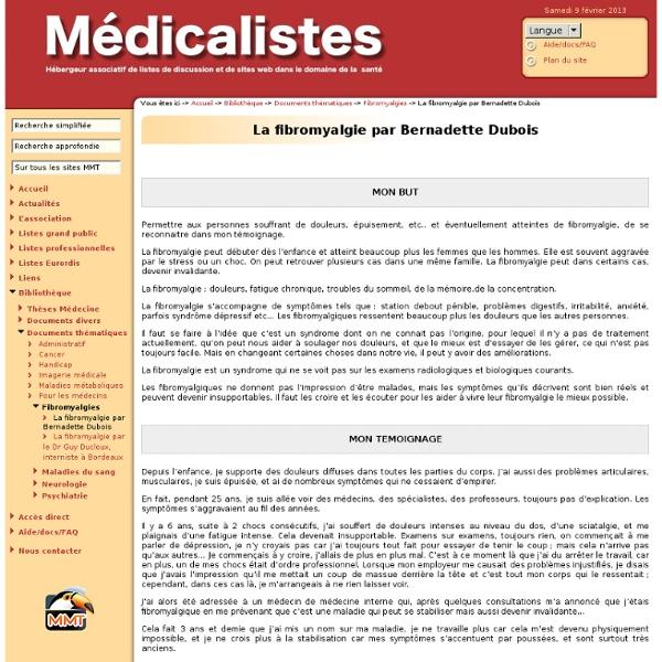 ☞ Médicalistes ☞ La fibromyalgie par Bernadette Dubois ☞