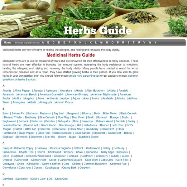 Medicinal Herbs Guide - Natural Herbs Guide - Healing Herbs Guide