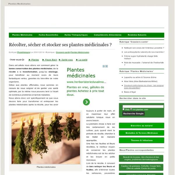 Plantes medicinales, propriétés, bienfaits et vertus