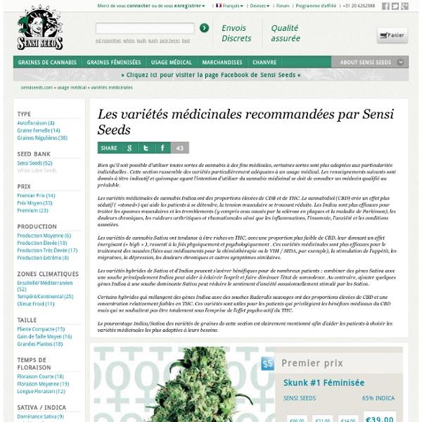 Variétés médicinales recommandées par SensiSeeds