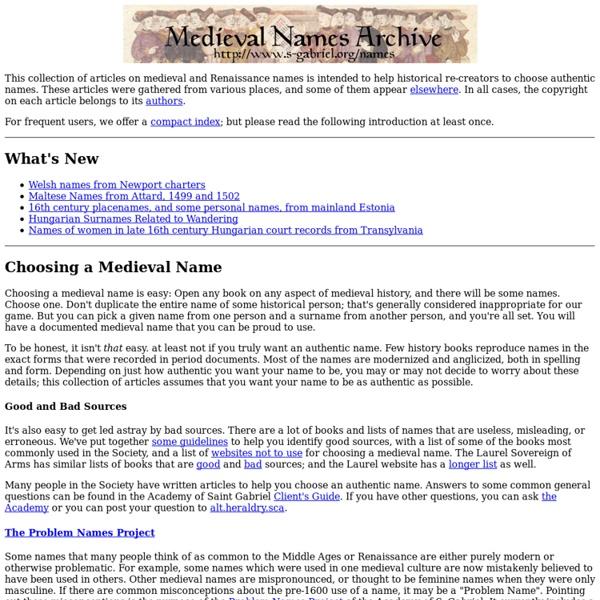 Medieval Names Archive