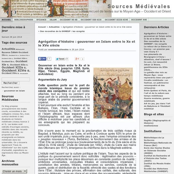 Agrégation d'histoire : gouverner en Islam entre le Xe et le XVe siècle