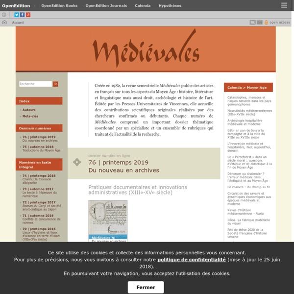 Médiévales - Langues, Textes, Histoire