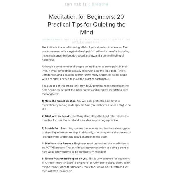 » Meditation for Beginners: 20 Practical Tips for Quieting the Mind