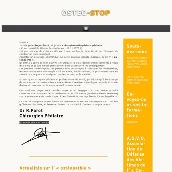 Osteo-Stop : Pour en finir avec l'ostéopathie...