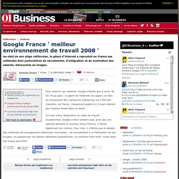 google france   u00e9lu meilleur environnement de travail 2008
