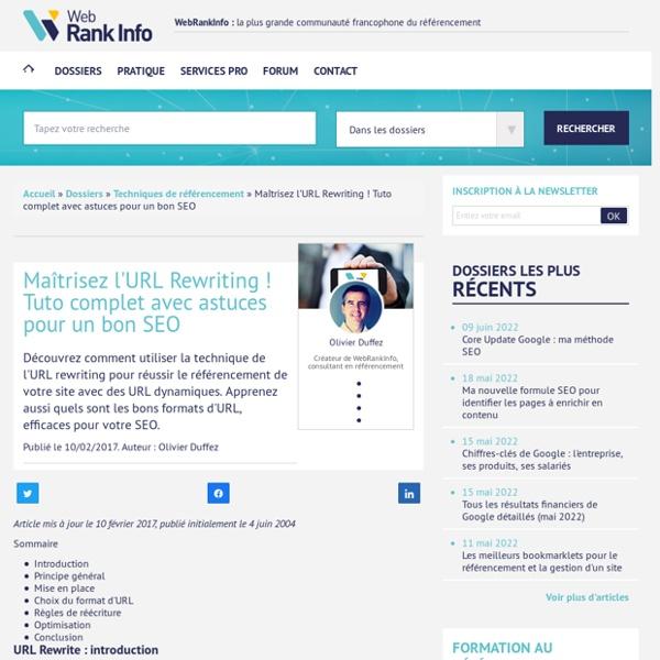 Tutoriel sur l'URL Rewriting (réécriture d'URL)