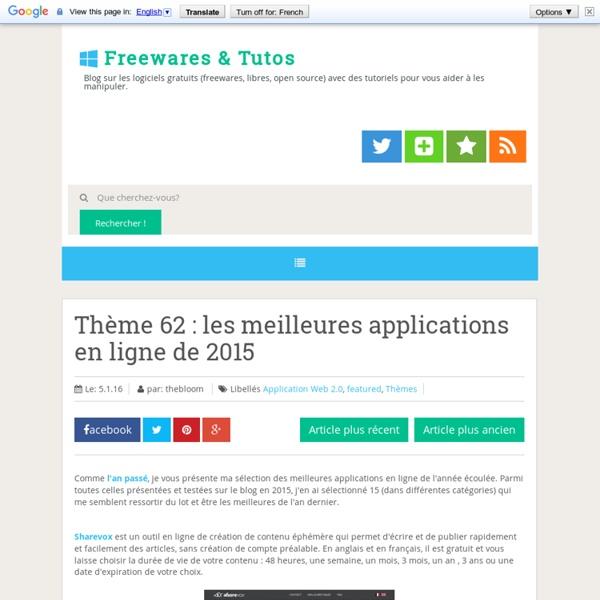 Thème 62 : les meilleures applications en ligne de 2015