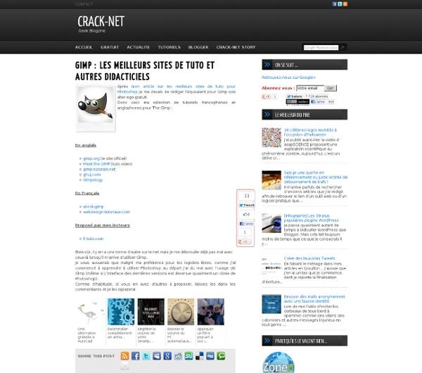 GIMP : les meilleurs sites de tuto et autres didacticiels
