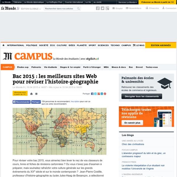 Bac 2015 : les meilleurs sites Web pour réviser l'histoire-géographie