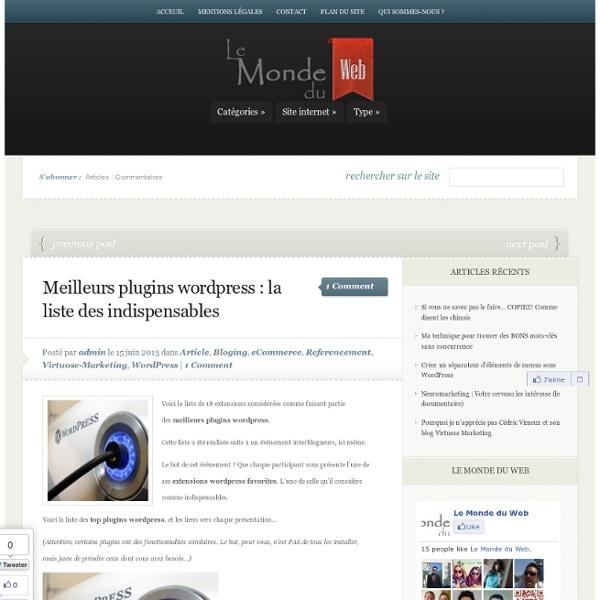 Meilleurs plugins wordpress : la liste des indispensables