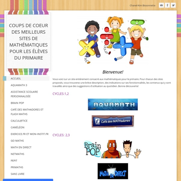 Coups de coeur des meilleurs sites de mathématiques pour les élèves du primaire - Accueil