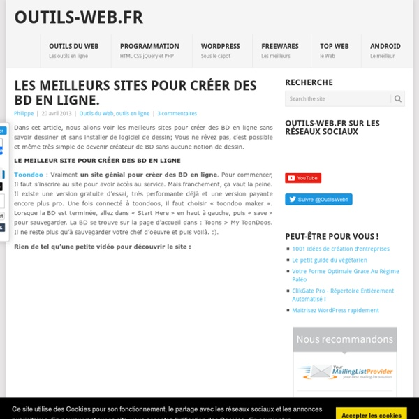 les meilleurs sites pour cr er des bd en ligne pearltrees. Black Bedroom Furniture Sets. Home Design Ideas