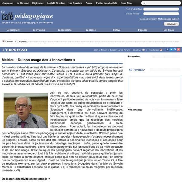 Meirieu : Du bon usage des « innovations »