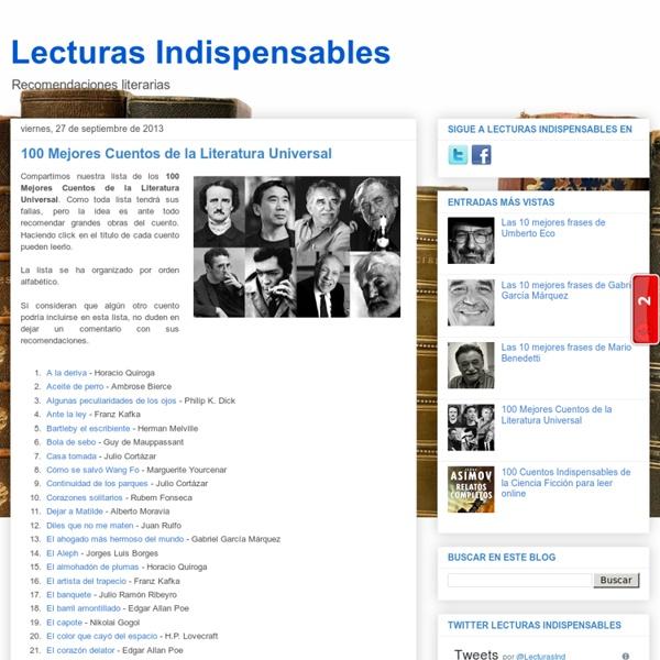 Lecturas Indispensables: 100 Mejores Cuentos de la Literatura Universal