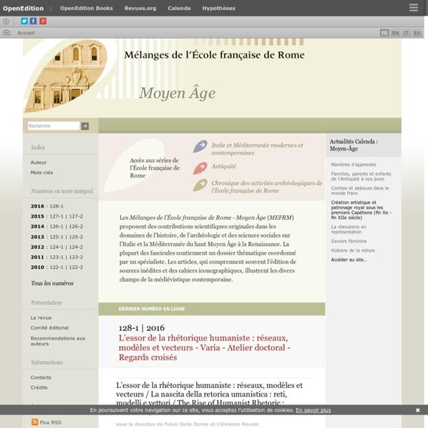 Mélanges de l'École française de Rome - Moyen Âge