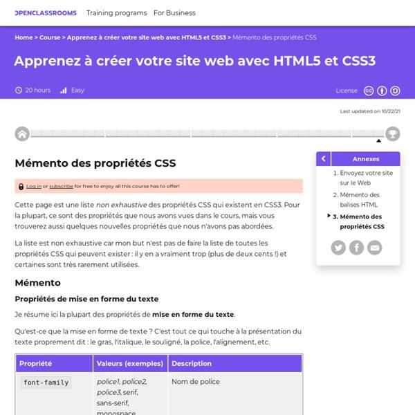 Mémento des propriétés CSS
