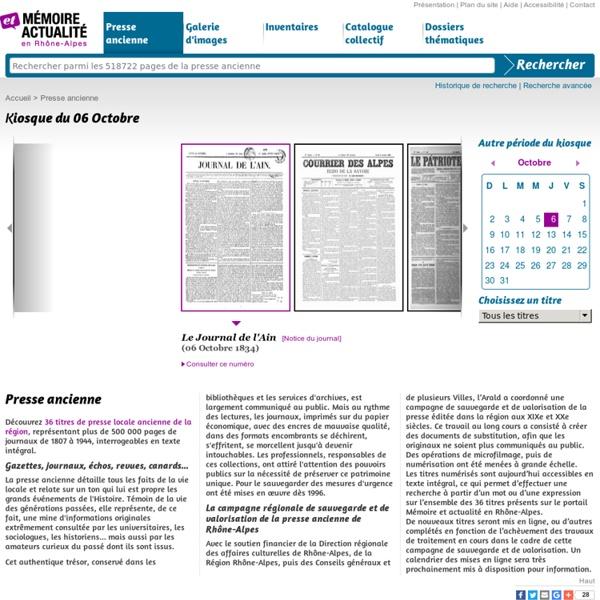 Mémoire et actualité en Rhône-Alpes - Presse ancienne