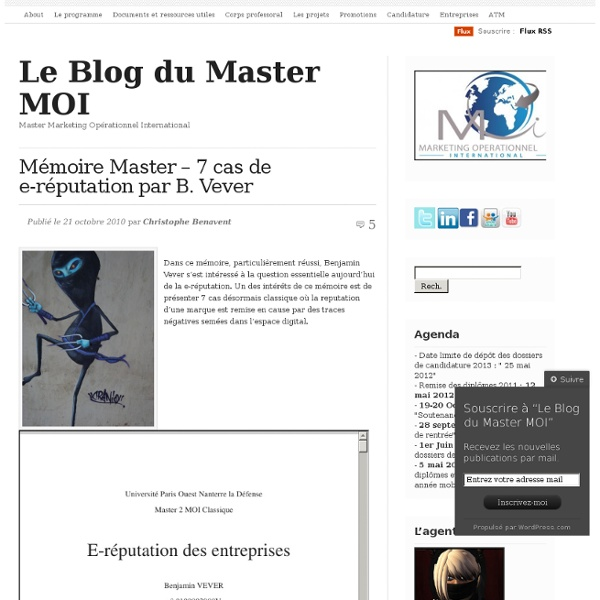 Mémoire Master – 7 cas de e-réputation par B. Vever « Master Marketing Opérationnel International