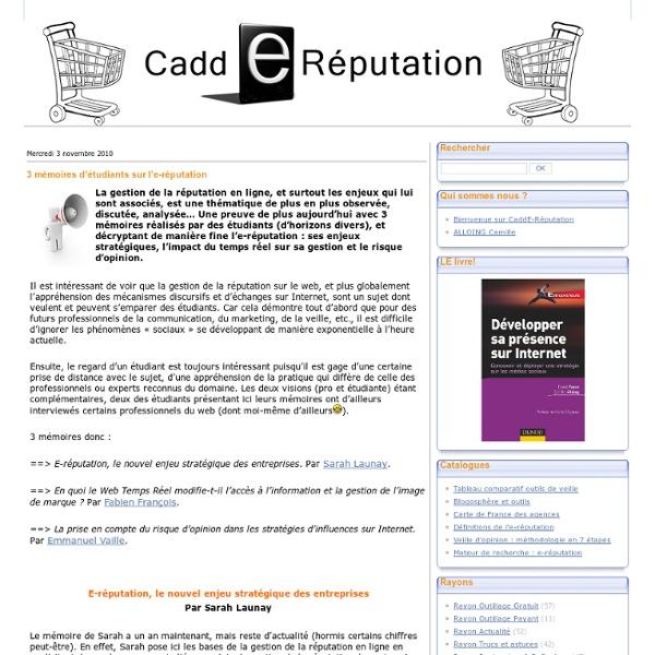 3 mémoires d'étudiants sur l'e-réputation