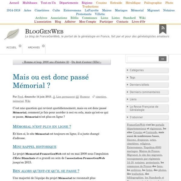 MémorialGenWeb - Accueil portail