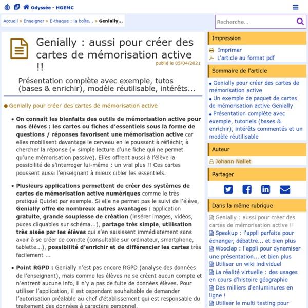 Genially : aussi pour créer des cartes de mémorisation active !! - Odyssée : Histoire Géographie EMC
