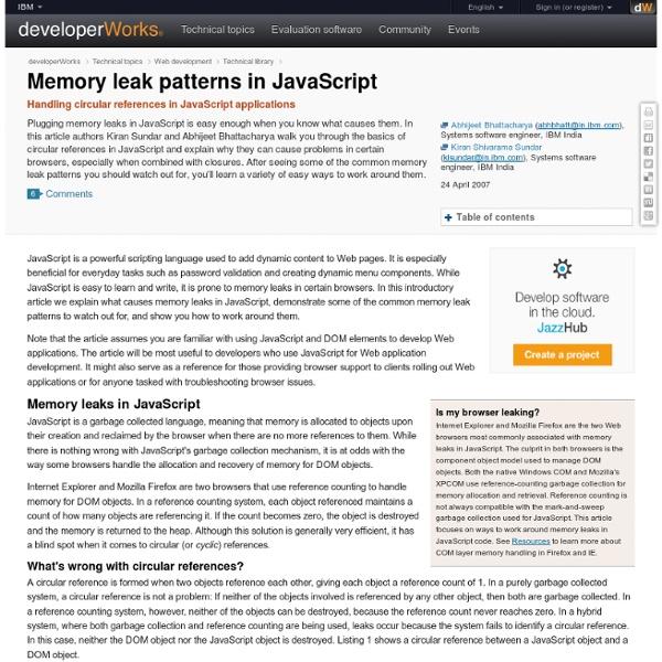 Memory leak patterns in JavaScript