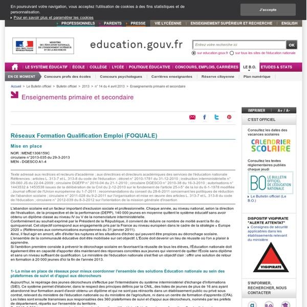 Réseaux Formation Qualification Emploi (FOQUALE)