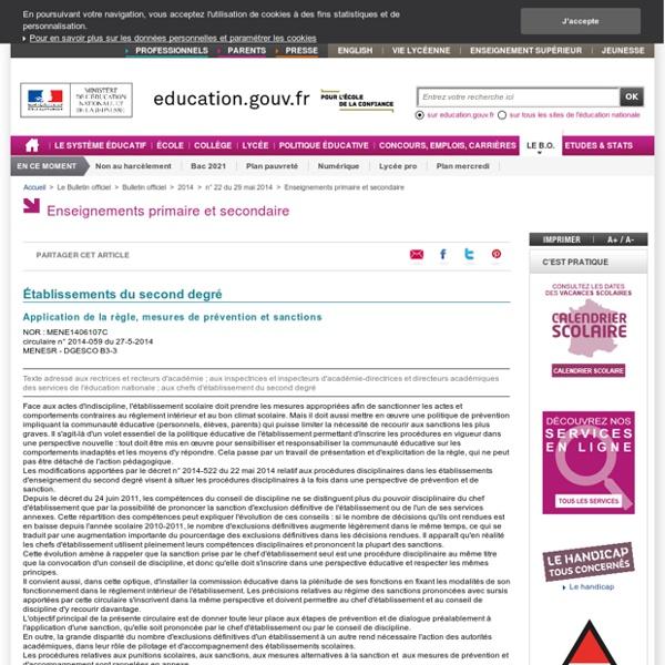 Circulaire n°2014-059 du 27-5-2014. Application de la règle, mesures de prévention et sanctions