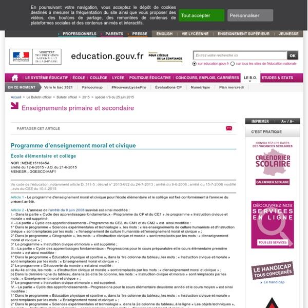 Programme d'enseignement moral et civique - École élémentaire et collège - Juin 2015
